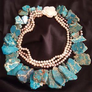Jewelry - MASSIVE! UNIQUE Statement Necklace Jasper Pearls